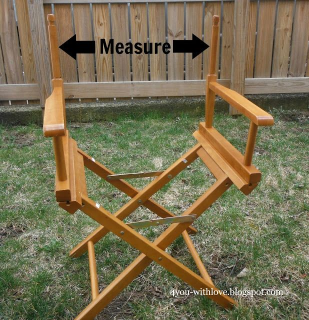 diy director s chair canvas, outdoor furniture, outdoor living, painted furniture, Measure the back and seat of the chair to determine the size your fabric pieces will need to be