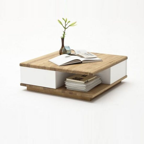 Clone Coffee Table Square In Knotty Oak And White With 2 Drawers Interieur Pinterest