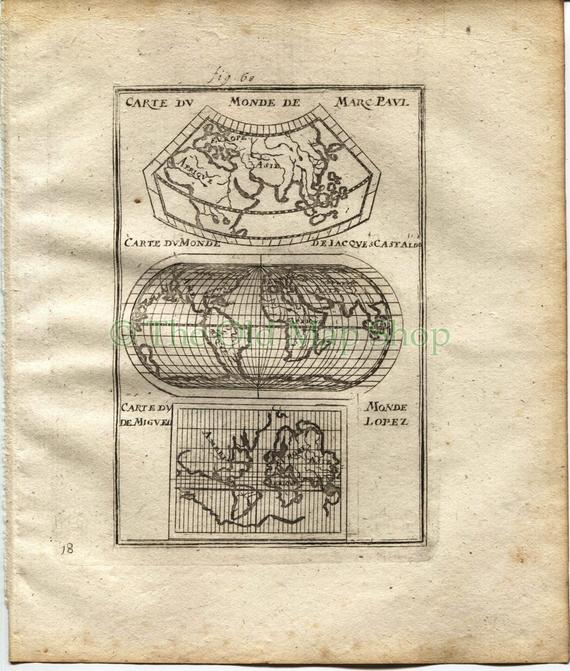 1719 Manesson Mallet World Map, Maps by Marco Polo, Giacomo Gastaldi