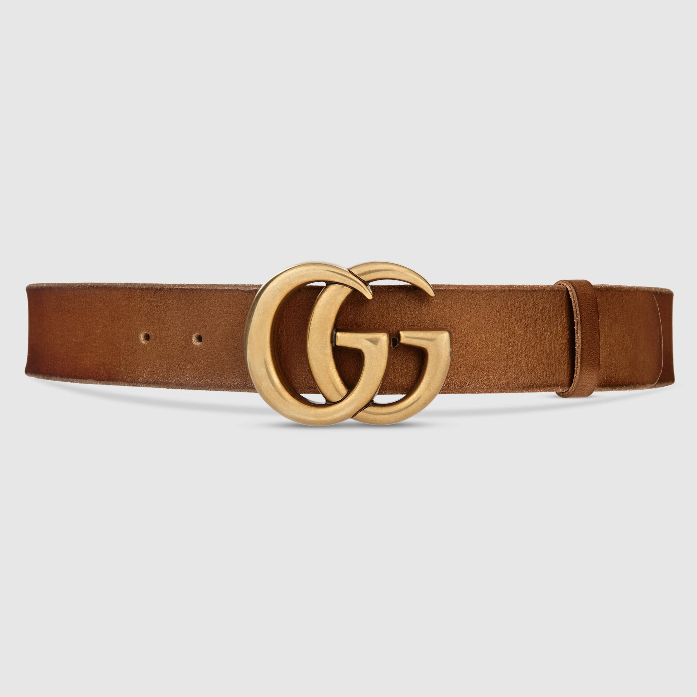 gucci women gucci brown leather belt with double g