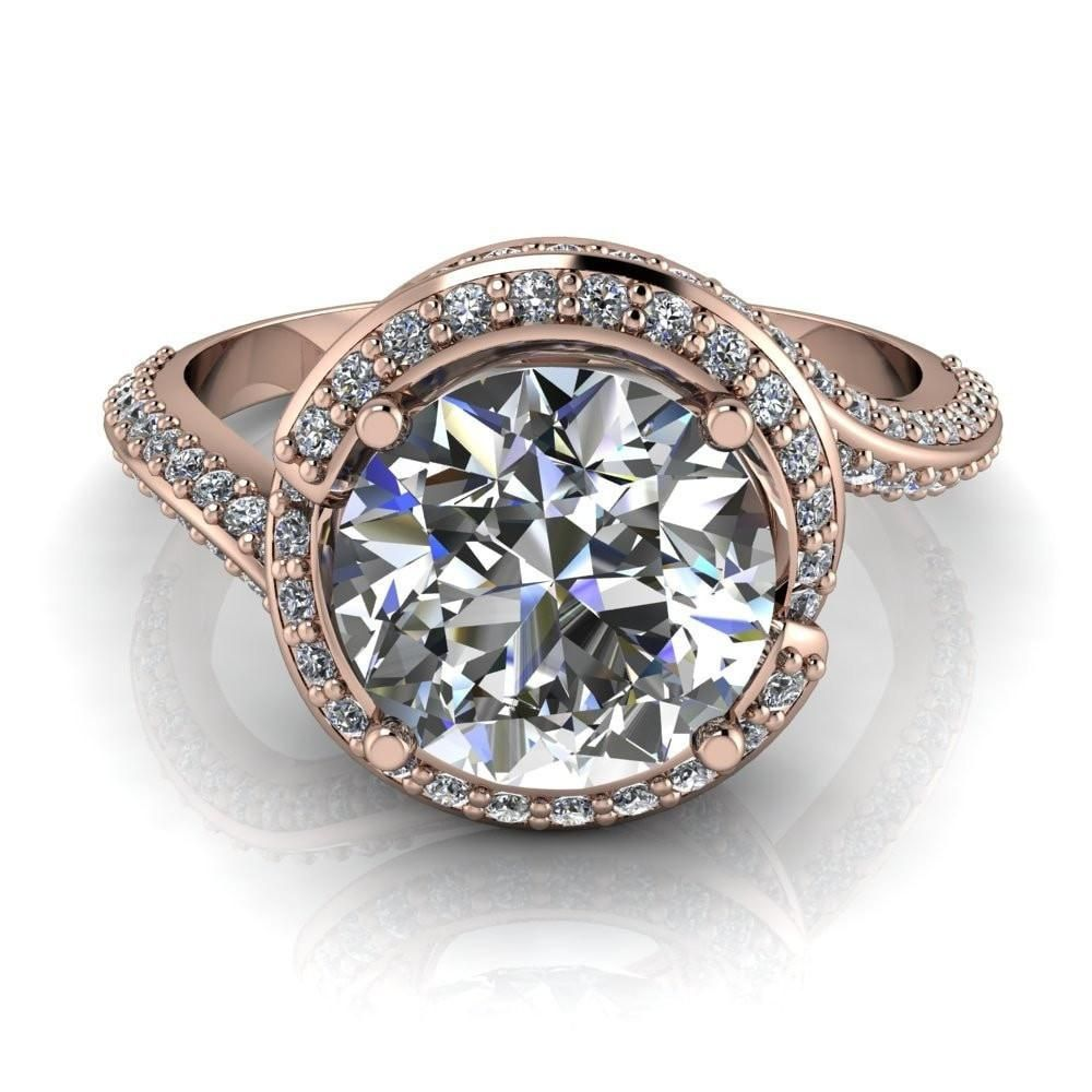 Baptiste round moissanite prong diamond halo engagement ring