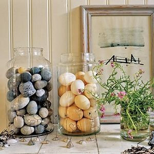 This pretty display of eggs and pebbles is perfect for Easter and beyond.