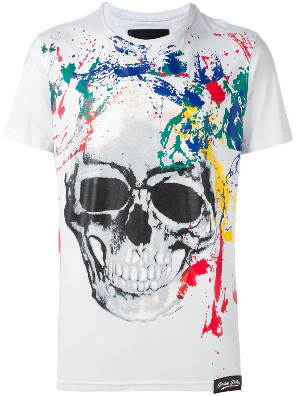 a56544a2 Philipp Plein painted skull print T-shirt Camisetas De Calavera, Camisetas  Estampadas, Chaquetas