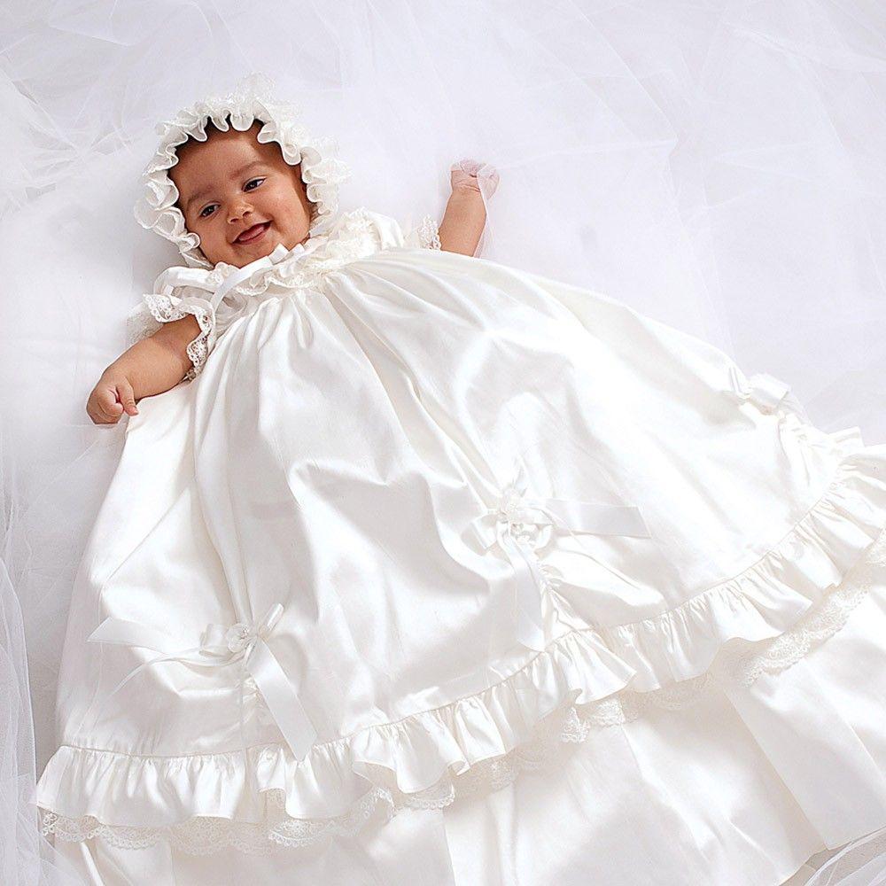 5c8799fb9 Sarah Louise - Ivory Silk Ceremony Gown with Bonnet | Childrensalon ...