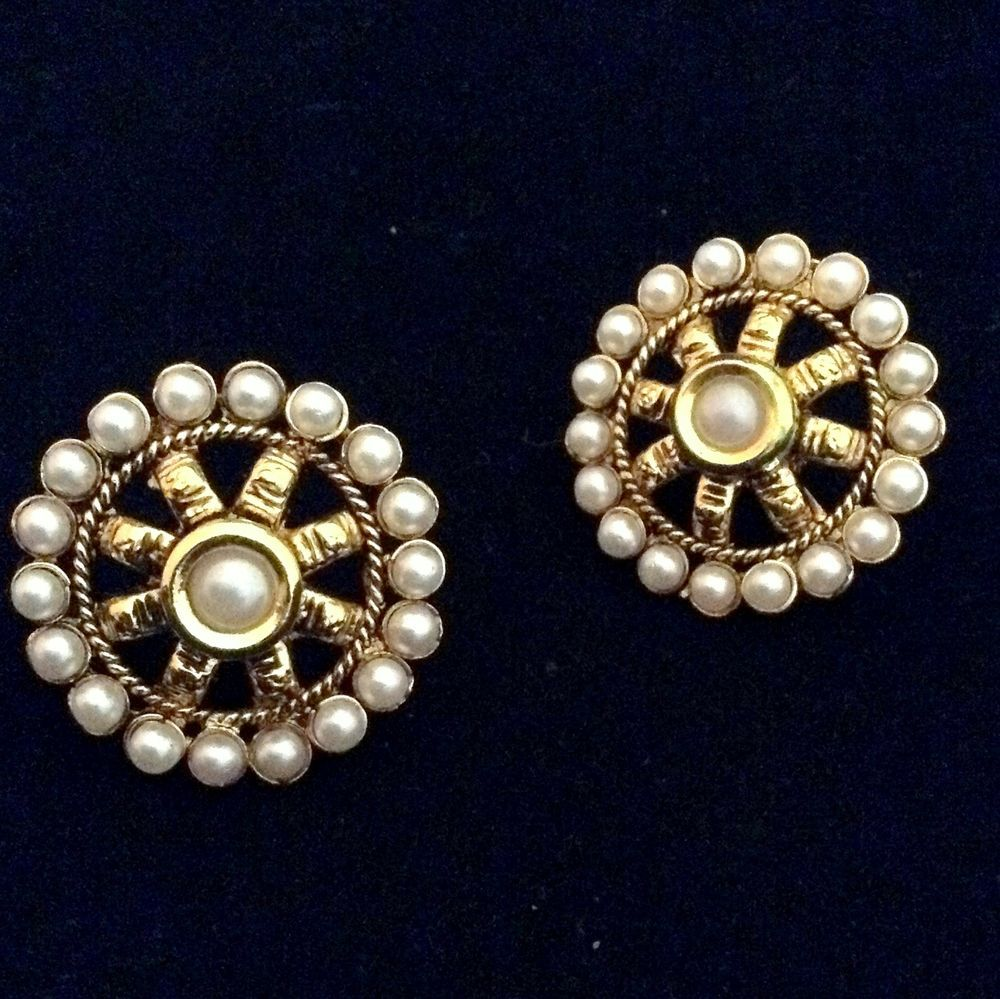c85c0bb21 Kundan flower pearl stud earring, ethnic India ADIVA copper woman Jewelry  ab115 #ADIVA
