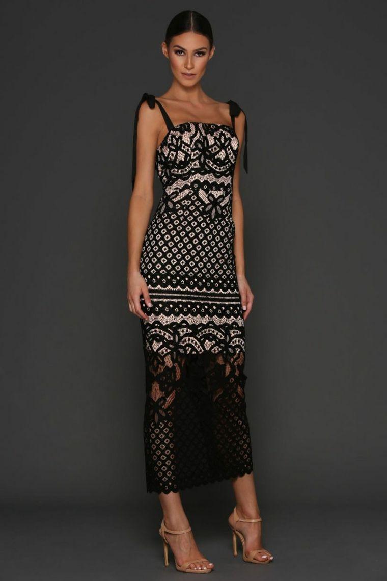 23df9eac0d Vestito elegante da cerimonia con pizzo di colore nero in ...
