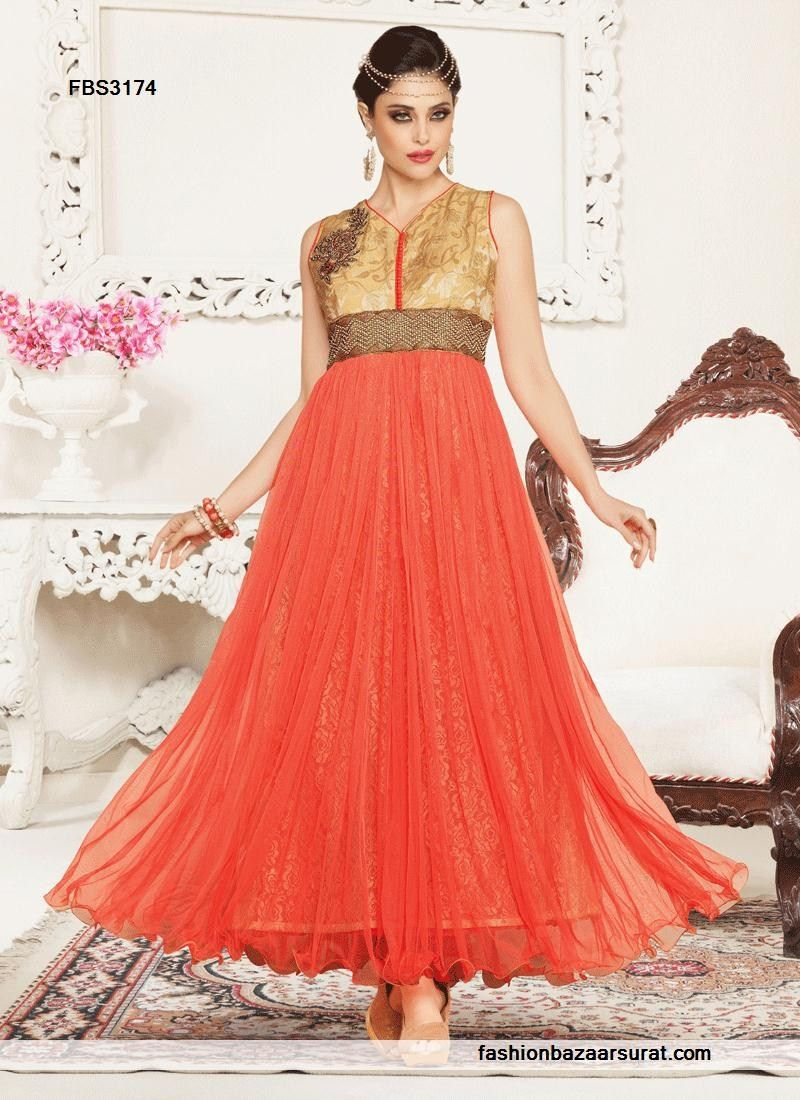 Peach prepossessing net designer gown buy indian salwar suits