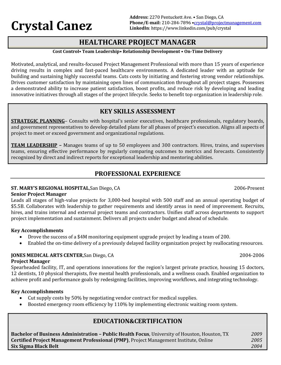 Resume Samples Project manager resume, Resume writing