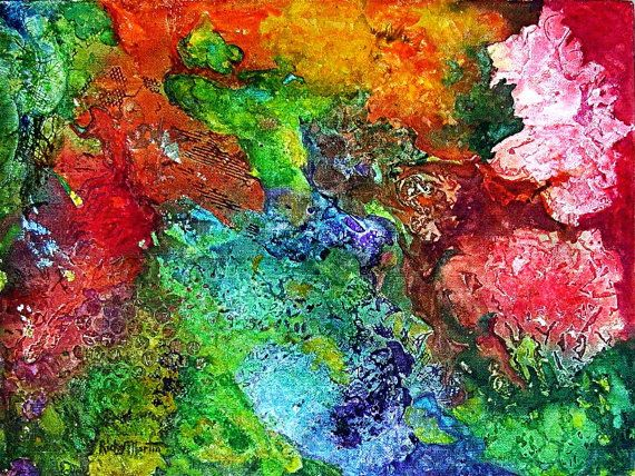 Abstract Flowers Original Watercolor