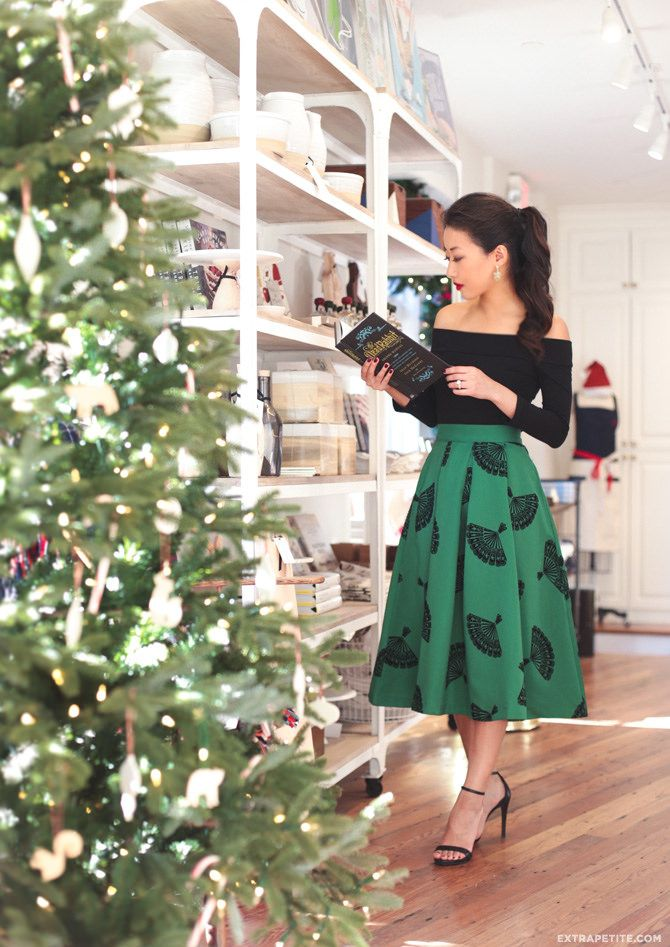 Vintage Vibes In Modcloth Retro Inspired Christmas Party Outfit With A Line Midi Skirt And Off Shoulder Top