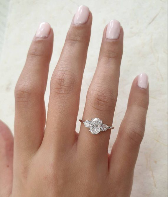 Oval Diamond Engagement Ring 1 40 Carats With Baby Oval Shape Side Stones And Hidden Halo 14k White Gold Diamond Ring Engagement Ring Oval Diamond Engagement Ring Classic Engagement Rings 14k White