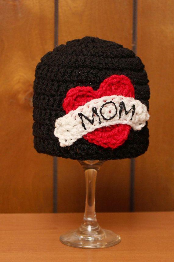 Crochet Mom Heart Tattoo Hat..so hard core lol