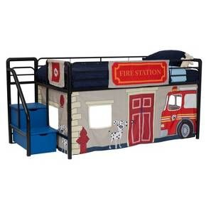 Transform Your Little Child S Room Into A Fun Play Area With The Unique Fire Department Curtain Set Your Little Firef With Images Loft Bed Loft Bed Curtains Twin Loft Bed