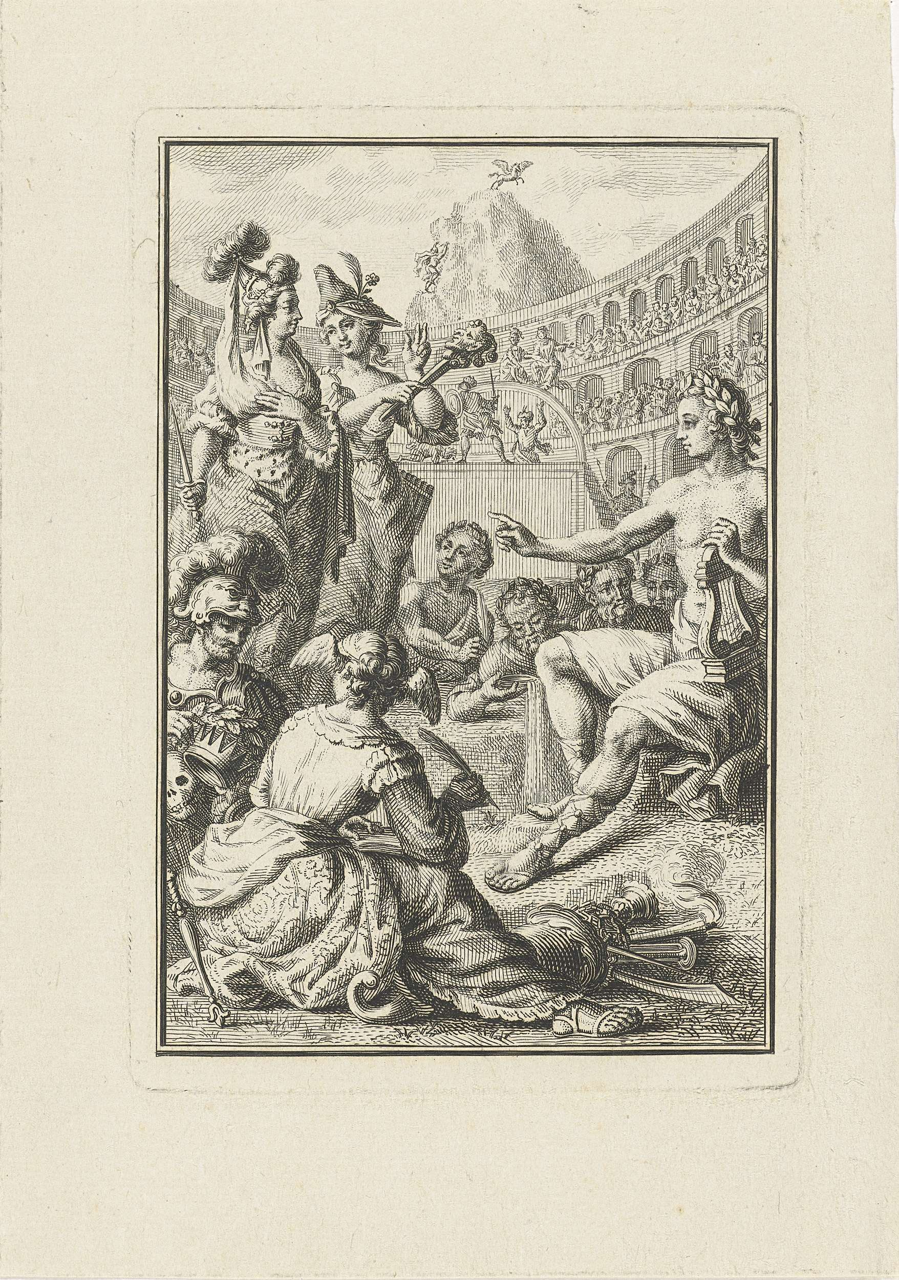Abraham Delfos | Allegorie met Apollo, muzen en kunstenaars in amfitheater, Abraham Delfos, Romeyn de Hooghe, 1764 | Allegorie met Apollo en zijn muzen zittend tussen kunstenaars in amfitheater waar een voorstelling gaande is.