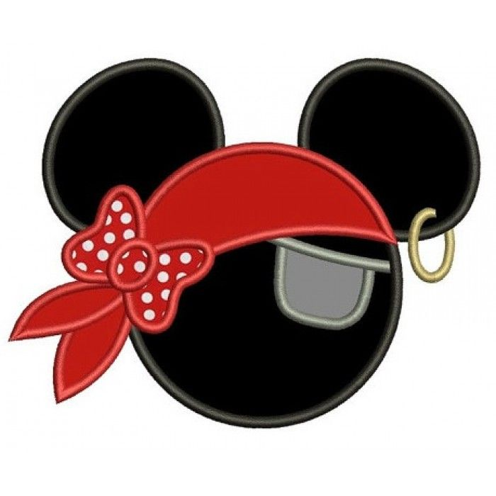 Looks Like Pirate Mickey Mouse Ears Applique With A Patch Machine Embroidery Digitized Pattern Instant Download 4x4 5x7 6x10 Hoops Disney Applique Mickey Mouse Crafts Disney Cruise Door Decorations