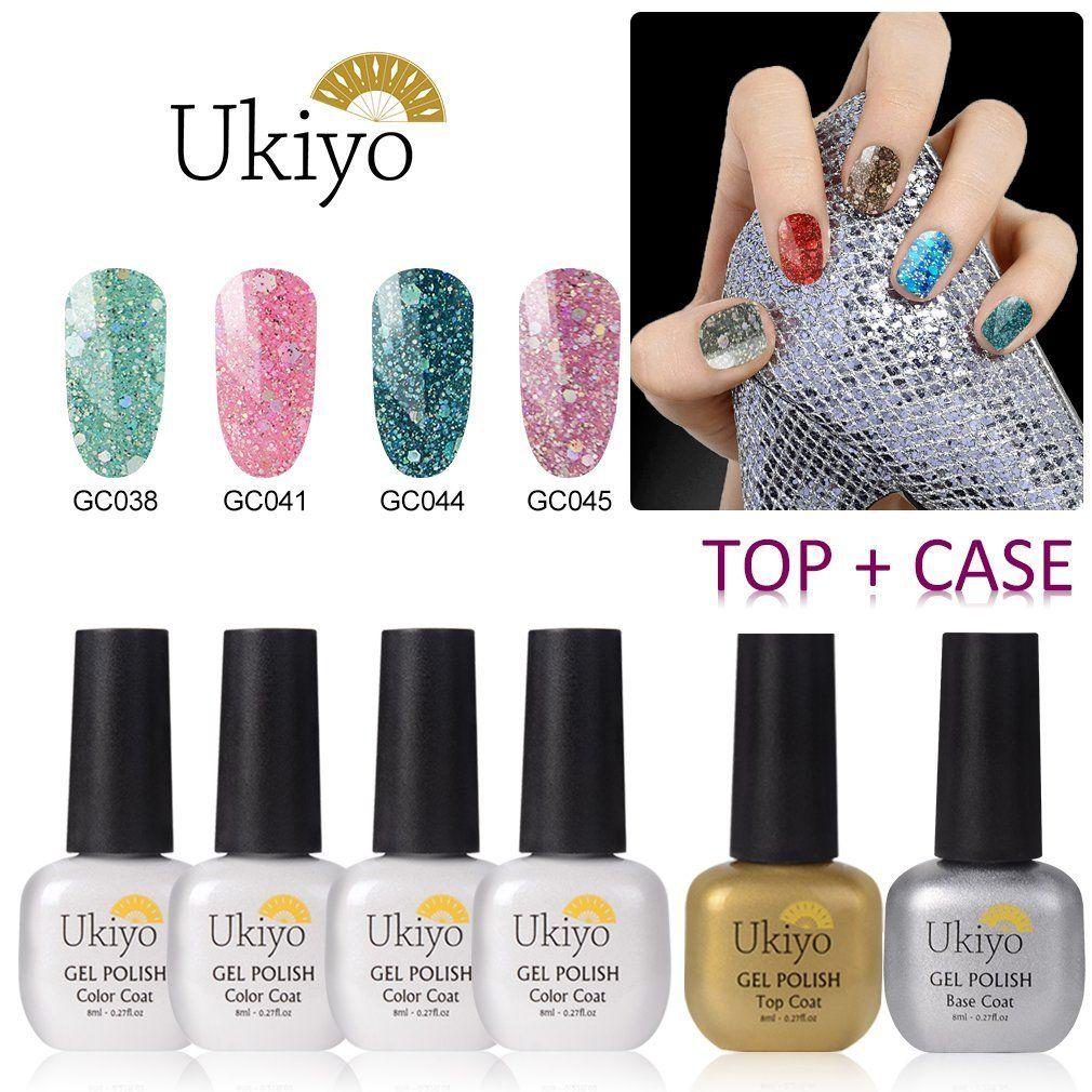 Ukiyo 4pcs Glitter Nail Polish With Base Top Coat Set,Soak off UV/LED Gel Nail Salon Sets -- More info could be found at the image url.