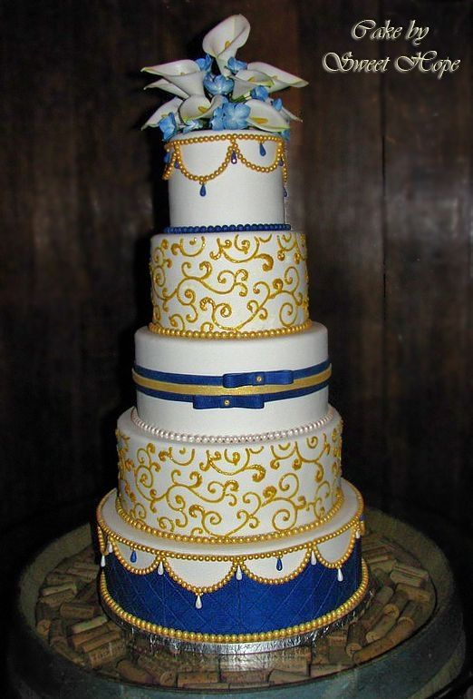 Yellow And Gold Cakes White Blue Wedding Cake Round