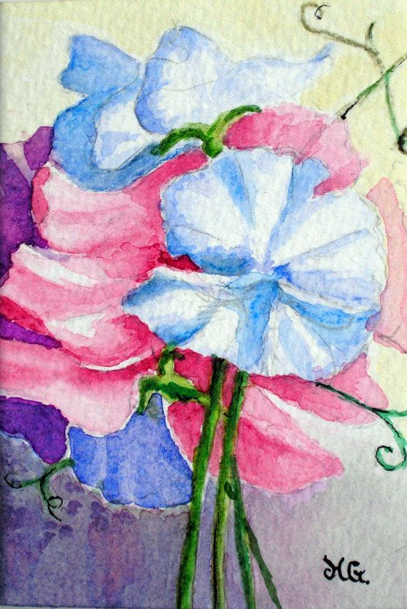 Original Watercolour  ACEO Sweet Peas. by ChildrenoftheMist