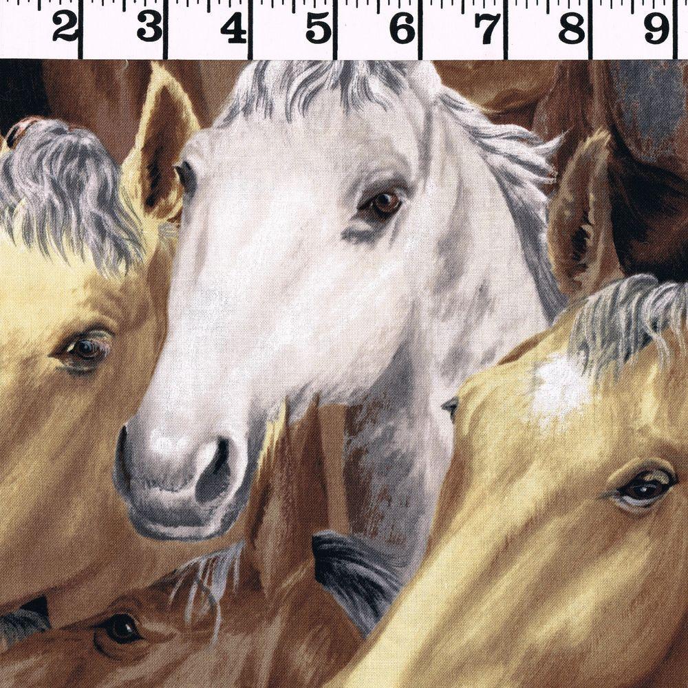 Yard Horse Animal Wild Horses Green Cotton Fabric Wilmington Greener Pastures