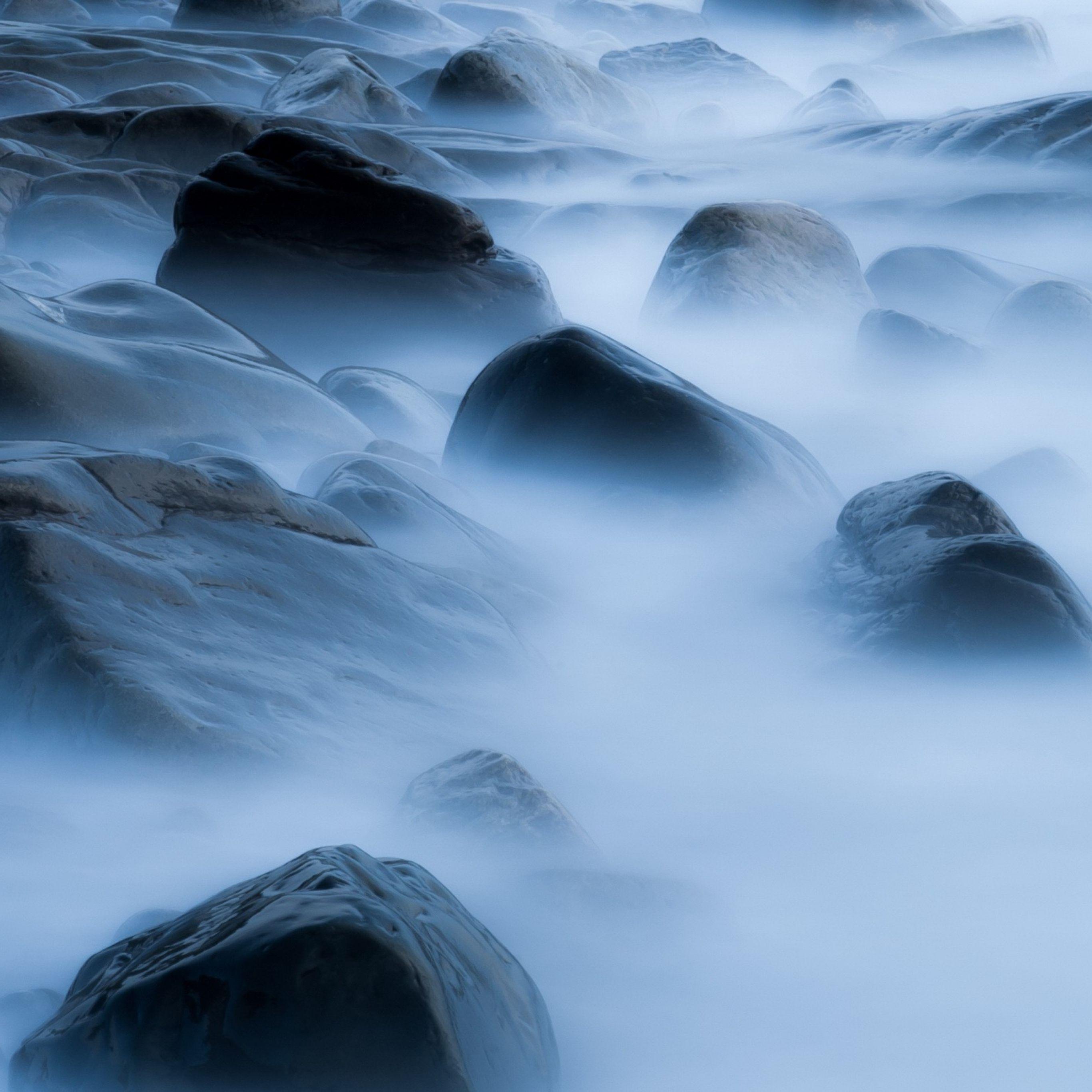 pedras 2732x2732 Wallpaper, fumo, véu, praia
