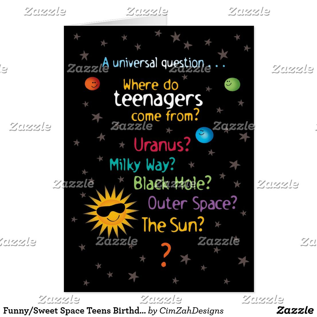 Funny Sweet Space Teens Birthday Card Teen Birthday Teen And Spaces