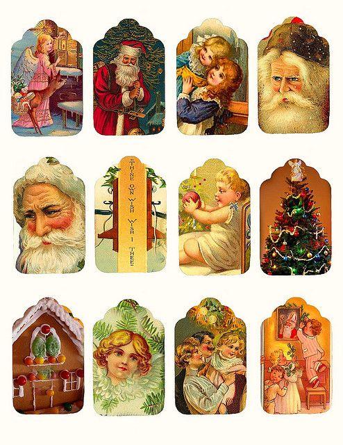 Etiquetas vintage de Navidad, imprimibles gratis   -   Free printable vintage Christmas tags