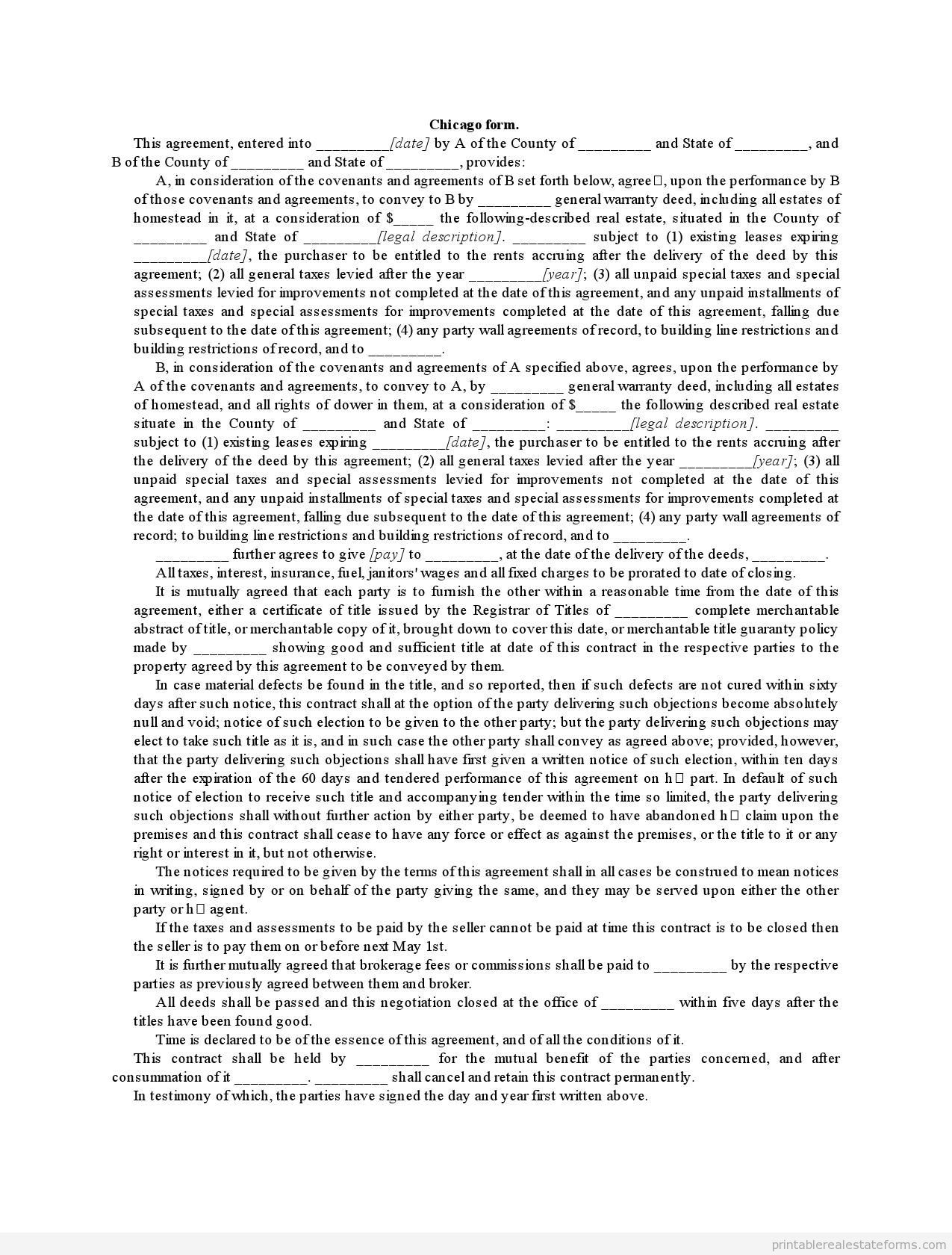 Sample Printable Chicago Form Form