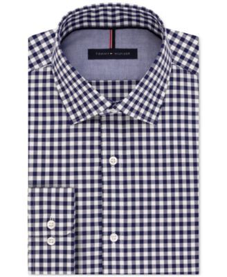 TOMMY HILFIGER Tommy Hilfiger Men'S Slim-Fit Navy Gingham Dress Shirt. #tommyhilfiger #cloth # dress shirts