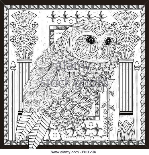 espléndido diseño de página para colorear búho en Egipto estilo ...
