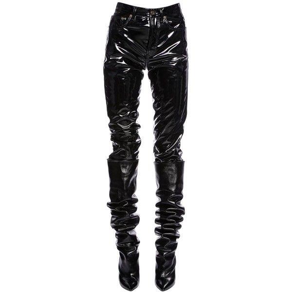 33b3f3f337 Saint Laurent Women Boyfriend Faux Patent Leather Pants ( 920) ❤ liked on  Polyvore featuring pants