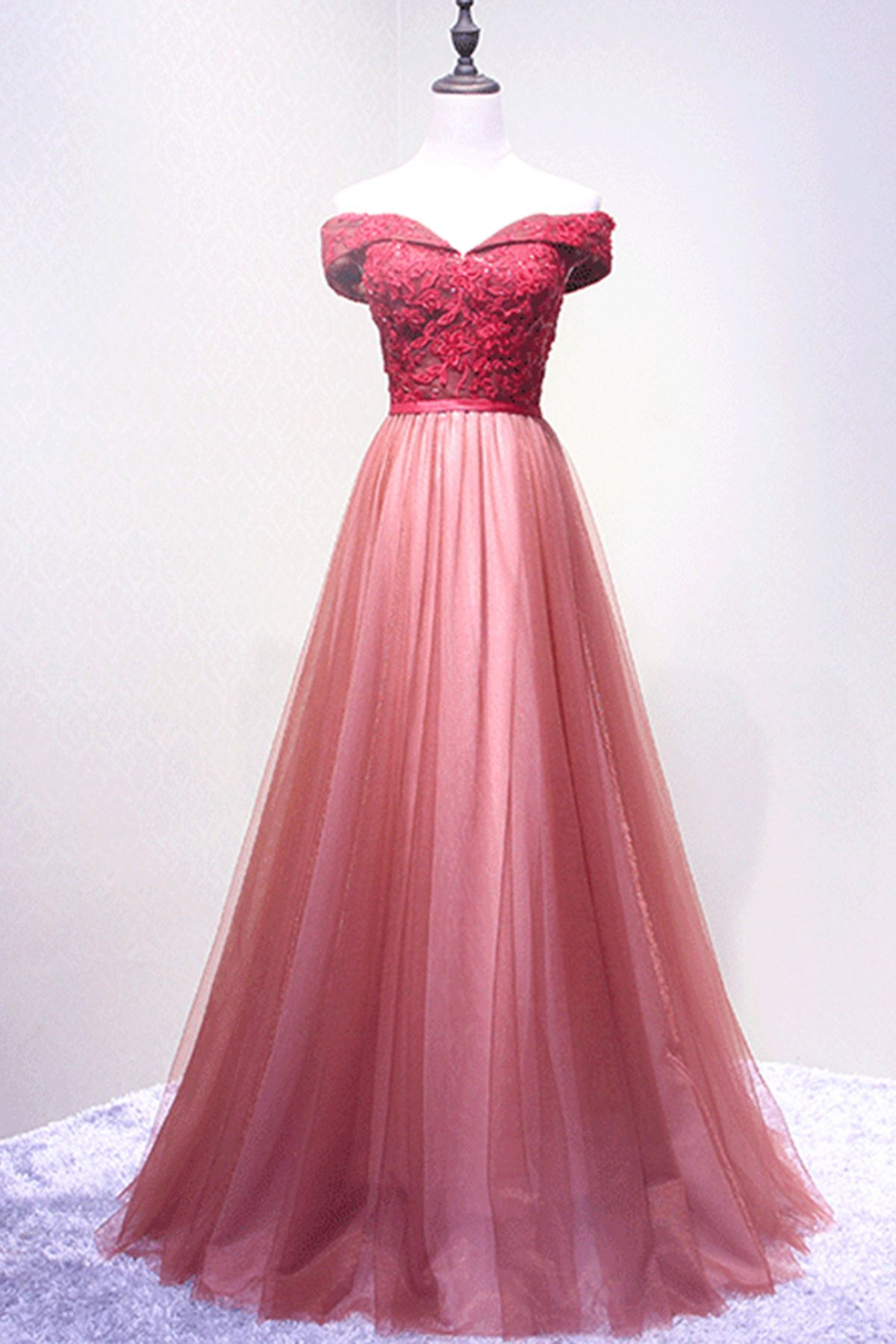 Red tulle long off shoulder aline prom dress with lace top