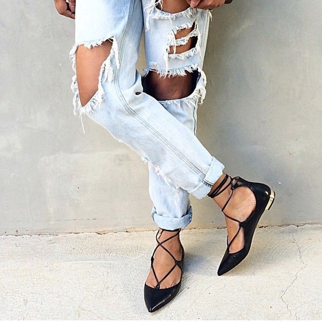 956803c8b Get a head start on spring fashion with these lace up flats that have been  gracing the spring 2015 runways. #fashion