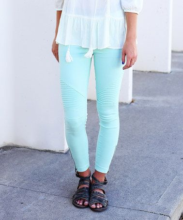 Another great find on #zulily! Mint Texture-Front Zip-Leg Leggings #zulilyfinds