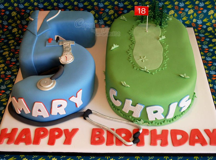 50th birthday cake for twins in nurse and golf theme Cake by