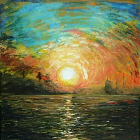 Sunrise Over the City - Ariel Hu (New Zealand Impressionist ...