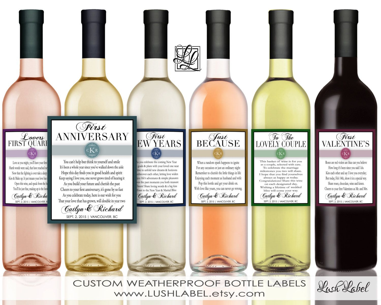 6 Marriage Firsts Milestones Poems Wedding Gift Wine by LushLabel ...