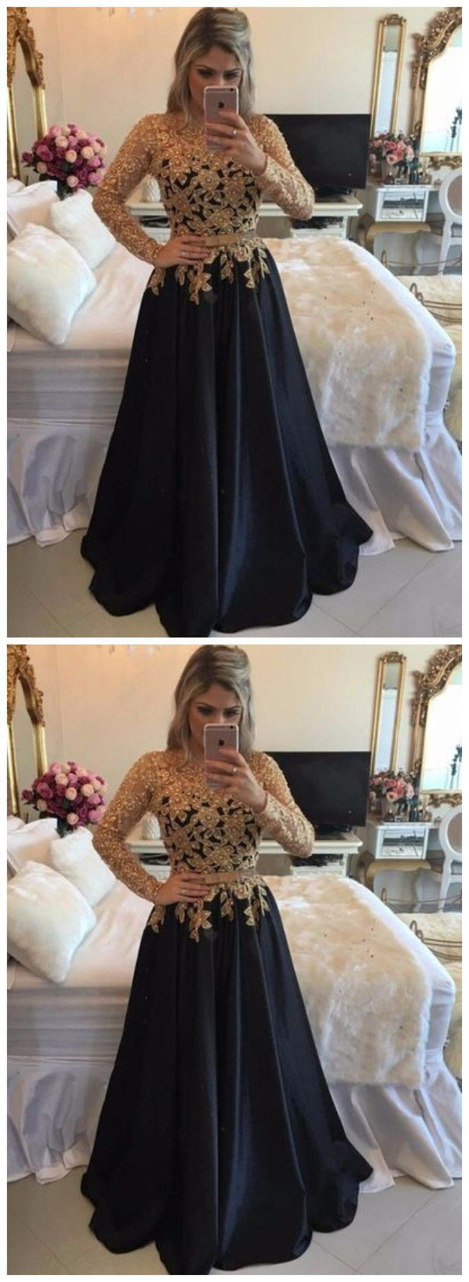 Back long party dresses long sleeve black prom dresses in