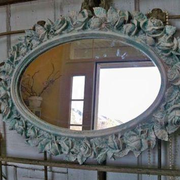 Large Ornate Framed Wall Mirror Distressed Deep Aqua Blue Cream Roses  Vintage Shabby Chic Piece Anita Design