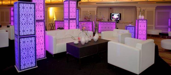 Luna Lighting LED Pedestals, LED Rectangular Bar, And Seville Arm Sofa By  Lounge 22