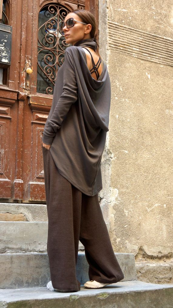 Casual Chocolate  Loose Top / Long sleeved Asymmetric Blouse / Ribbed Soft Fabric / Turtleneck Top A12025