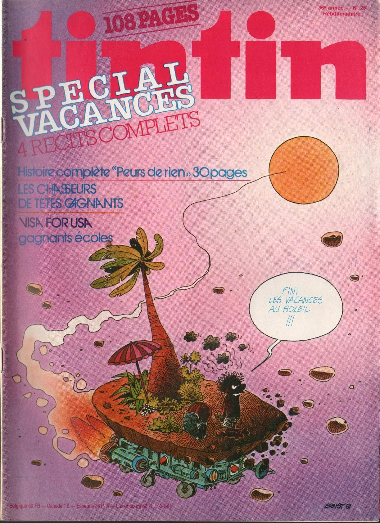 Le Journal de Tintin - Edition Belge - N°  1815 - 1981-26 - Mardi 30 Juin 1981 - Couverture : Serge Ernst