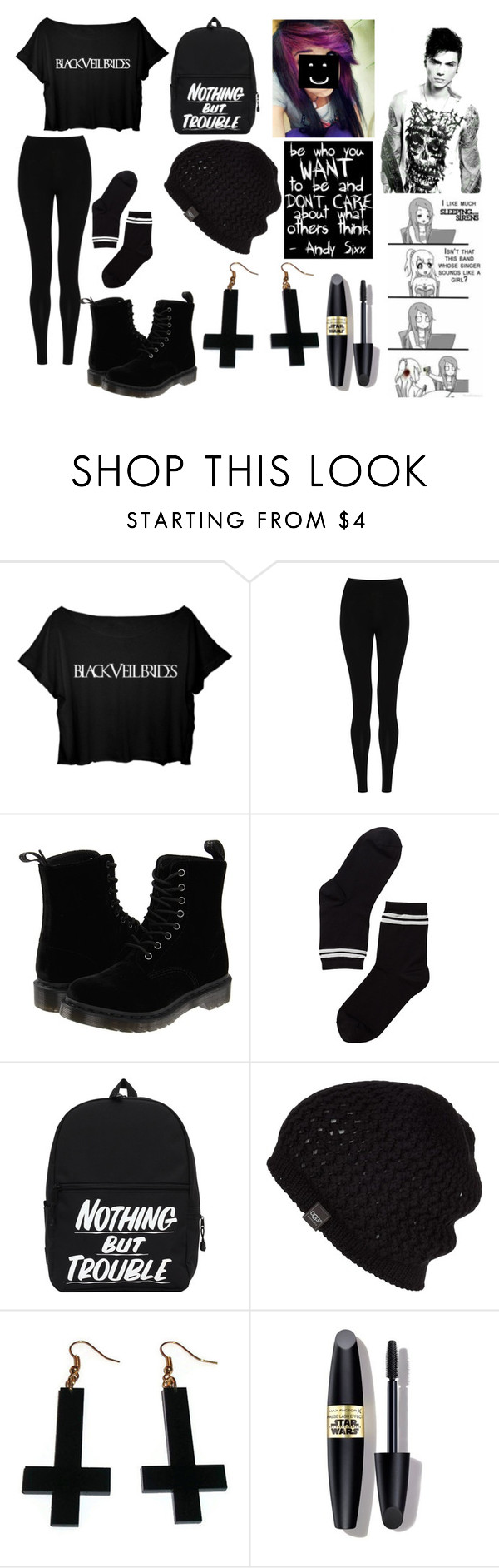 """Meeting Andy Biersack"" by directioner-magcultmember13 ❤ liked on Polyvore featuring M&S Collection, Dr. Martens, Monki, UGG Australia, Chicnova Fashion and Max Factor"