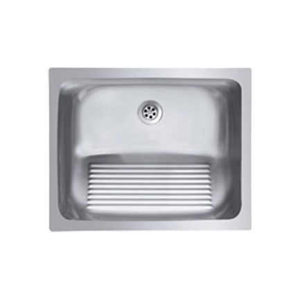 Ukinox Single Basin Stainless Steel Laundry Sink With Washboard