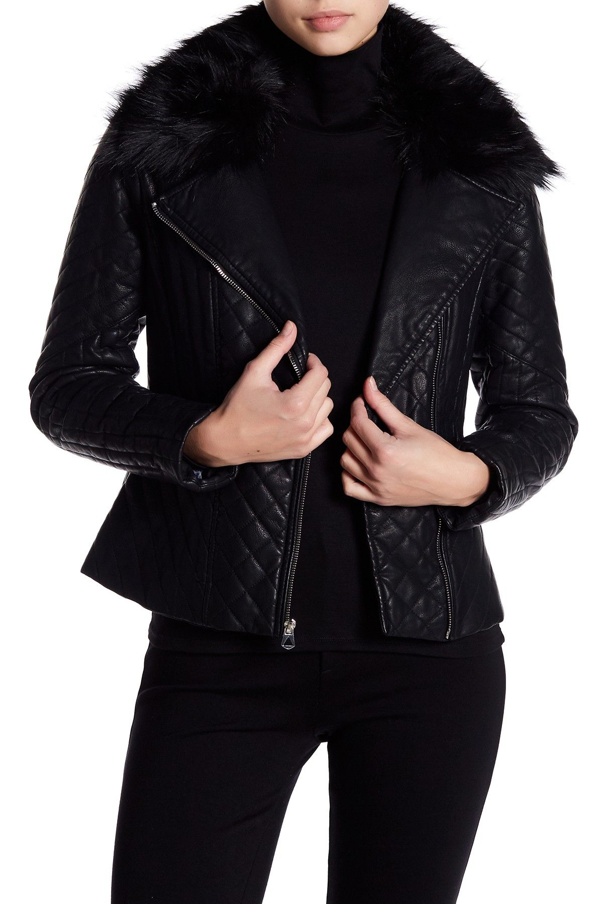 GUESS Faux Fur Trim Collar Quilted Faux Leather Jacket