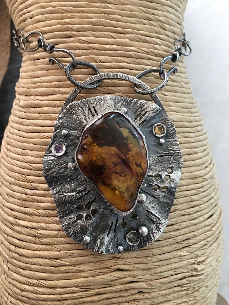 Amber Pendant, Handcrafted Pendant, Artisan Pendant, Gift