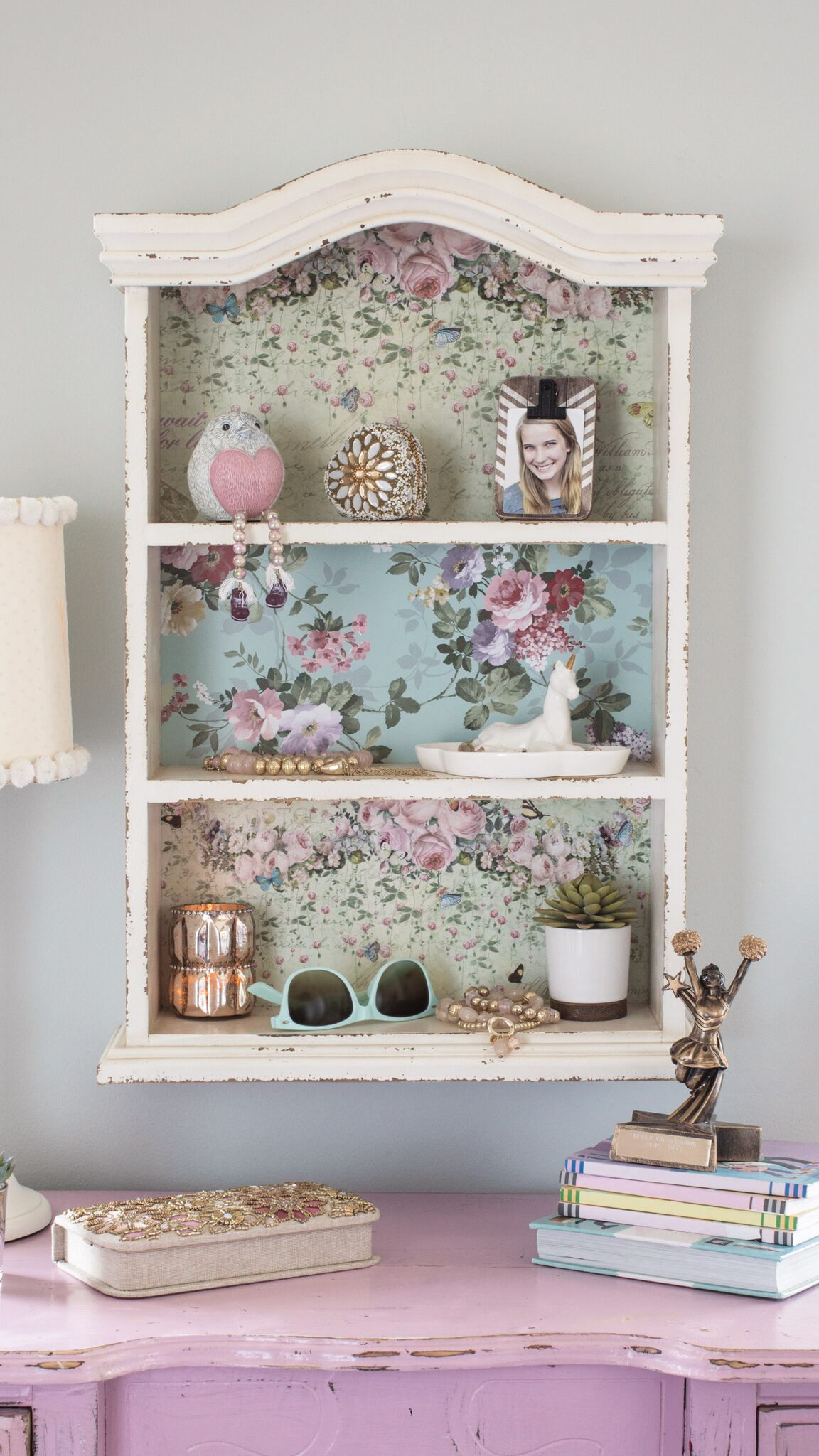 Meet The Floral Shelves That Add A Soft Rustic Touch To Any Wall The Distressed White Wood Paired Wit Girls Bedroom Vintage Bedroom Vintage Vintage Room Decor