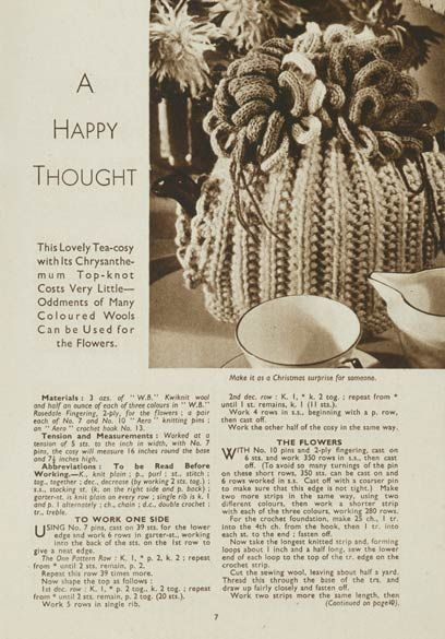 1940\'s Knitting - A Happy Thought Tea cosy pattern free | Vintage ...