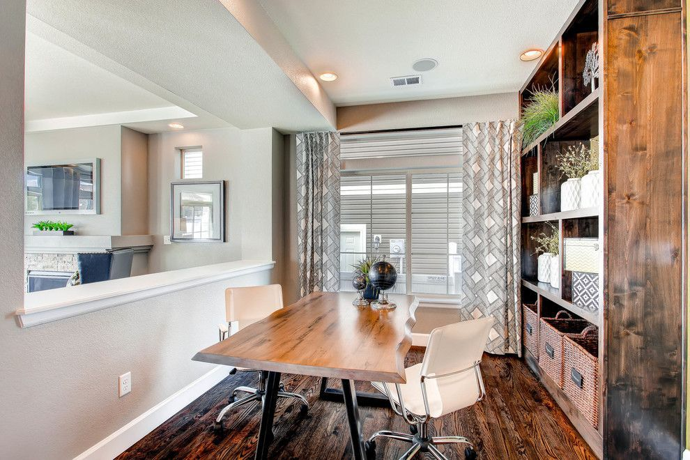 Oakwood Homes For A Transitional Home Office With A Live Edge Desk