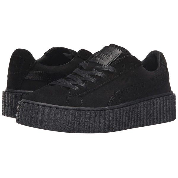 PUMA Suede Creepers Satin Rihanna (Black/Black/Black) Women's Shoes ($140) ❤ liked on Polyvore featuring shoes, puma shoes, black shoes, laced shoes, kohl shoes and lace up shoes
