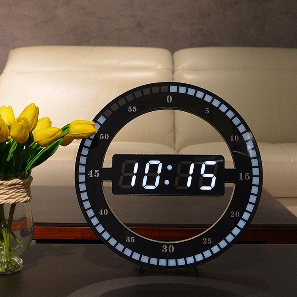 Creative Mute Hanging Wall Clock Black Circle Automatically Adjust Brightness Clock Table Clock Led Clock